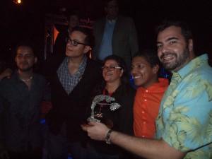 Cast en crew van de Arubaanse film 'Abo So' die de publieksprijs van AIFF won dit jaar. Foto: Ariën Rasmijn