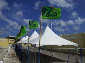 De ingang van het Aruba Entertainment Center staat in ieder geval al klaar voor het partijcongres van aanstaande zaterdag. Foto: Ariën Rasmijn