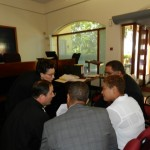 Overleg tussen de advocaten en Booi en Ek Hage - foto: Belkis Osepa