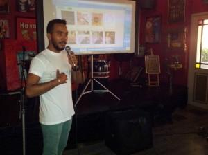 Levi Silvanie tijdens de presentatie van Skempi. Foto: Ariën Rasmijn