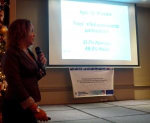 Maribel Tromp tijdens de presentatie van de Youth Health Survey afgelopen maandag. Foto: Ariën Rasmijn