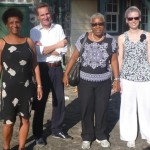 Tineke Drenthe, Gert Oostindie, Rose Mary Allen en Monica van Leeuwen-Laan van de onderzoeksgroep - foto: Anneke Polak
