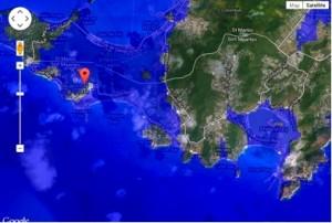 Nasa satelliet foto laat zien hoe delen van sint Maarten onder water zullen verdwijnen. Foto Natuurstichting