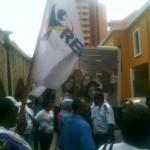 MFK-aanhangers verzamelden zich vanmiddag bij OM - foto: Anneke Polak