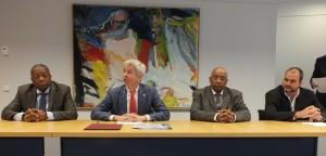 v.l.n.r. Zaandam, Plasterk, Winklaar en Johsnon bij persconferentie CN week - foto: Jamila Baaziz