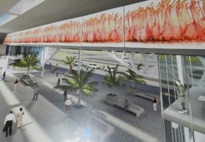 Tekening van de nieuwe terminal