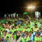 UP houdt verkiezingsbijeenkomst op de onafgebouwde ringweg | Foto: Hilbert haar
