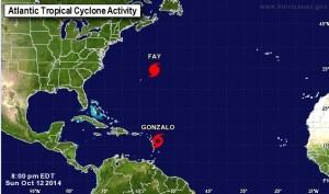 De positie van Gonzalo om 8 uur op zondagavond. Foto screenshot National Hurricane Center