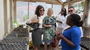 Tweede Kamervoorzitter Anouchka van Miltenburg (links) en naast haar Eerste Kamervoorzitter Ankie Broekers-Knol tijdens hun bezoek aan de Organoponics Garden op Saba - foto: RCN