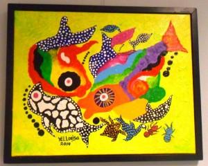 Het gestolen schilderij 'Vivero', van de Bonairiaanse kunstenaar Hellouisa Sint Jago.