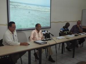 Jaime Donata aan het woord tijdens de persconferentie van vanmiddag. Foto: Ariën Rasmijn