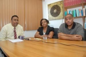 Advocaat Jairo Bloem, Regina Labega en Edward Dest (v.l.n.r.) Archieffoto Today / Milton Pieters