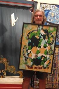 Philipe Zanolino met een van zijn kunstwerken - foto: Sofie Custers