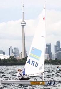Philipine van Aanholt in actie op de PanAm Games in Toronto.