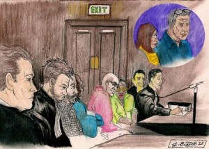 Lawyers and suspects in the courtroom. Drawing by James Baggett for Today
