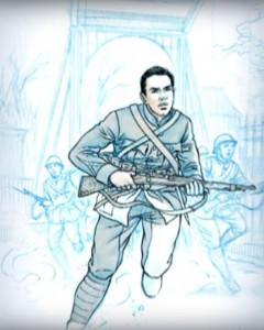 George Maduro als soldaat. Illustratie: Thomas du Caju.