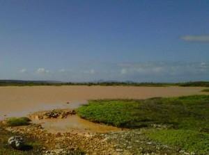 De Hato-vlakte na hevige regenval in 2011. Dit zijn scenario's die we vaker te zien zullen krijgen. Foto: Elisa Koek
