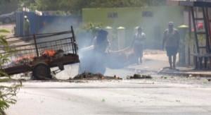 Brandstichting bij Post 5 - foto: José Manuel Dias