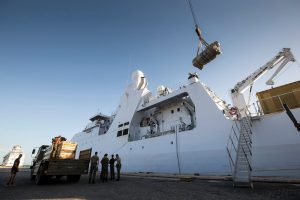 De Zr. MS. Holland wordt beladen