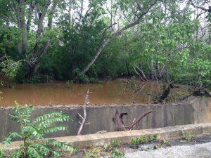 Op de Weg naar Westpunt ter hoogte van Ascencion brak ook een dam door vanwege de hevige regenval - foto: Anneke Polak