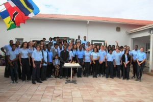 Studenten van de SCS school op Saba