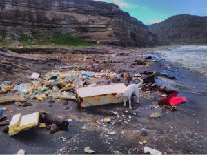Accu's, plastic en ook een koelkast meegesleurd naar de kust door het noodweer op Sint Eustatius - foto: Erik Bowman